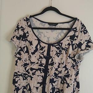 Dorothy Perkins navy blue floral fit &flare dress